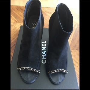 Chanel Black Suede Boots, Size 42